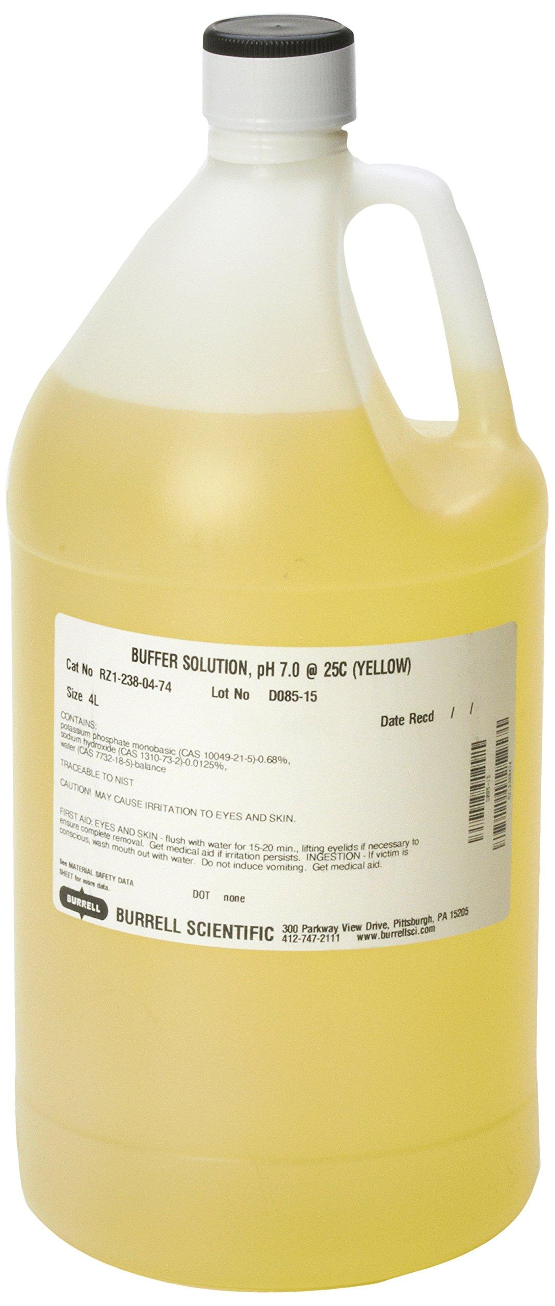 Burrell Scientific RZ1-238-04-74 Buffer Solution, 7.0 pH, 4 L, Yellow