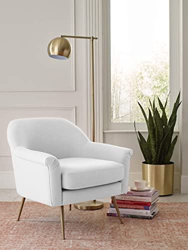 Elle Decor Ophelia Lounge, Mid-Century Modern Accent Chair with Brass Metal Legs, Fabric Upholstered Armchair for Living Room, Easy Assembly, Ivory