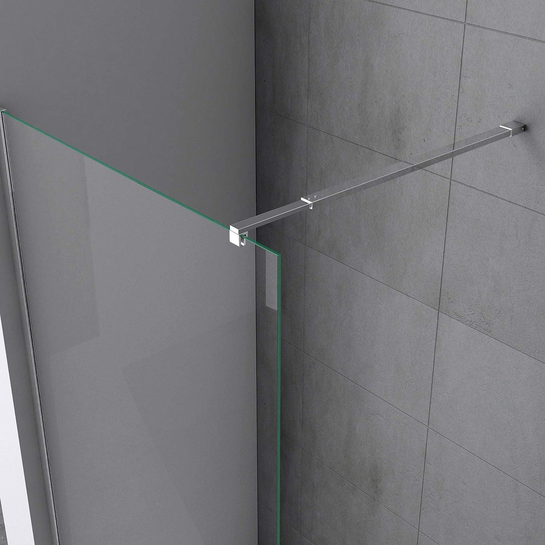 Sogood paroi de douche pare douche a l/´italienne Bremen02BL avec stabilisateurs carres verre de securite de 10 mm revetement NANO 140x200cm