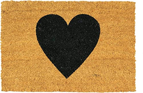 Nicola Spring Black Heart Design Non-Slip Coir Door Mat, 40 x 60 cm – PVC Backed Welcome Mats Doormats