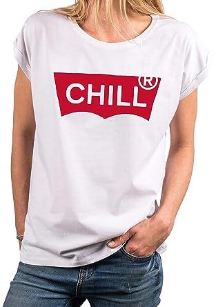 9abb54d2c88 Makaya T-Shirt Femme de Marque Fantaisie avec Ecriture - Chill - Top Sexy  Drole Humour Sport Rigolo  Amazon.fr  Vêtements et accessoires