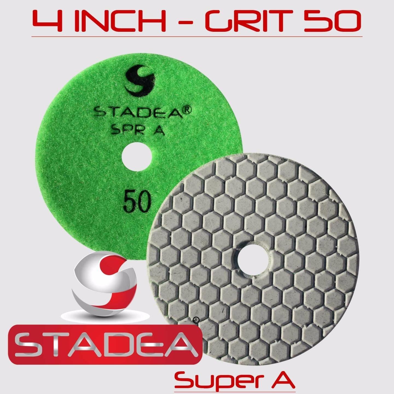 STADEA 4'' Dry Diamond Polishing Pads for granite Marble Concrete Stone Granite Tile Polishing Kit - 5 Pcs Pads, 1 Rubber Backer (5/8'' 11) Set by STADEA (Image #3)