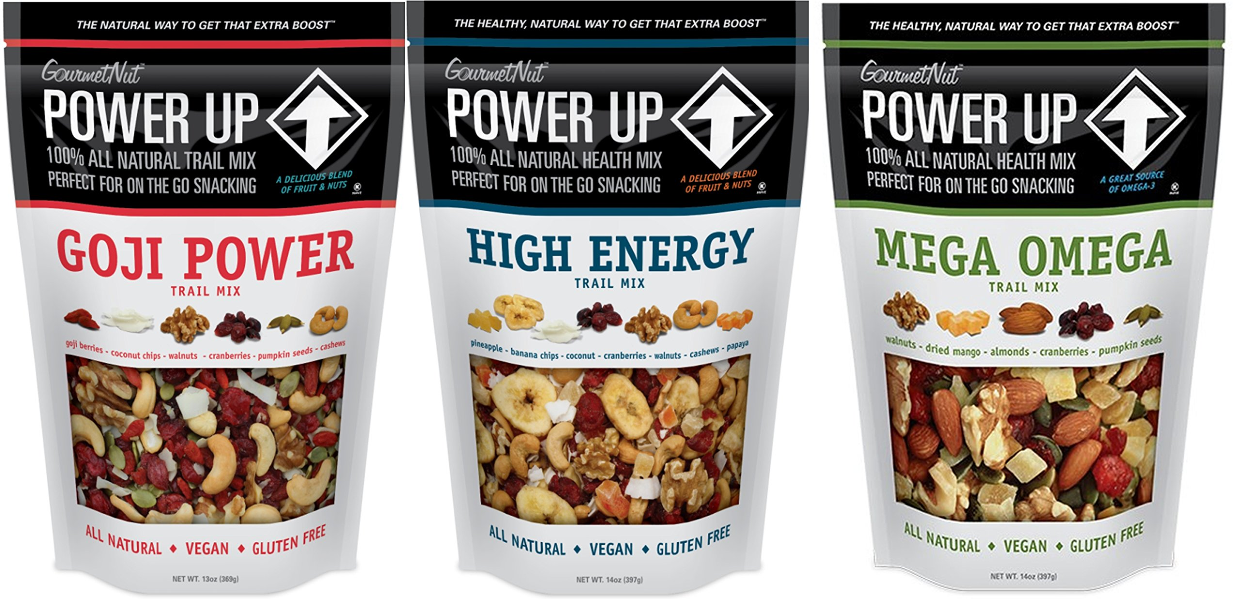 Natural Healthy Snacks Nuts Cashews Trial Mix Mega Omega Goji Power High Energy Gluten Free Vegan by GourmetNut by Gourmet Nut
