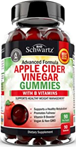 Vegan Apple Cider Vinegar Gummies with B Vitamins for Immune Support & Healthy Weight Management - 90 ACV Gummies for Women & Men - Delicious & Keto Friendly - 1 ACV Gummy Equals 1 Full Serving