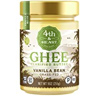 Vanilla Bean Grass-Fed Ghee Butter by 4th & Heart, 9 Ounce, Keto, Pasture Raised...