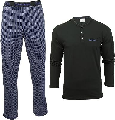 Calvin Klein PJ Pant WL/S Henley Conjuntos de Pijama para Hombre