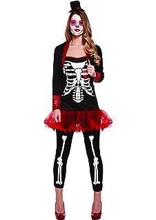 Ladies Day Of the Dead Darling Costume Womens Skeleton Halloween Fancy Dress New