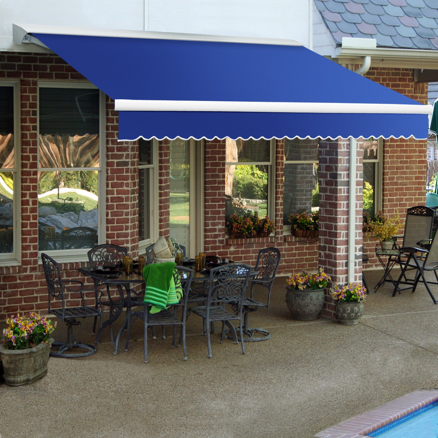 Awntech 8-Feet Destin LX with Hood Manual Retractable Acrylic Awning, 84-Inch Projection, Blue