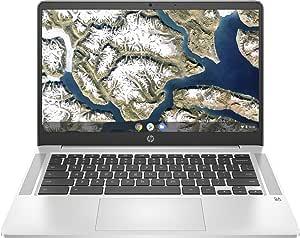 "HP Chromebook 14a-na0004ns - Ordenador portátil HD de 14"" (Intel Celeron N4020, 4GB RAM, 64GB eMMC, Gráficos Intel UHD 600, Sistema Operativo Chrome OS) – Plata mineral – Teclado QWERTY español"