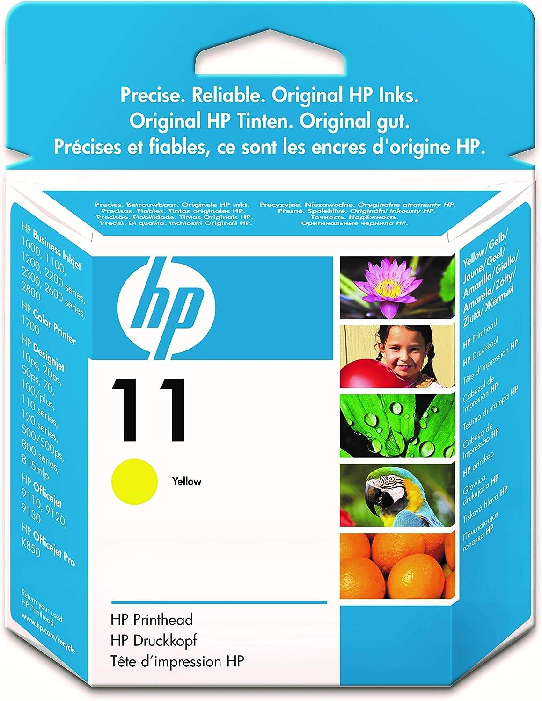 HP 11 C4813A, Amarillo, Cabezal Original,para impresoras HP Business InkJet serie 1000, 2000, OfficeJet serie 9100, K850; DesignJet serie PS, 100, 500; Color Ink serie CP 1000; Tecnología Photoret III: Hp: Amazon.es: Oficina y papelería