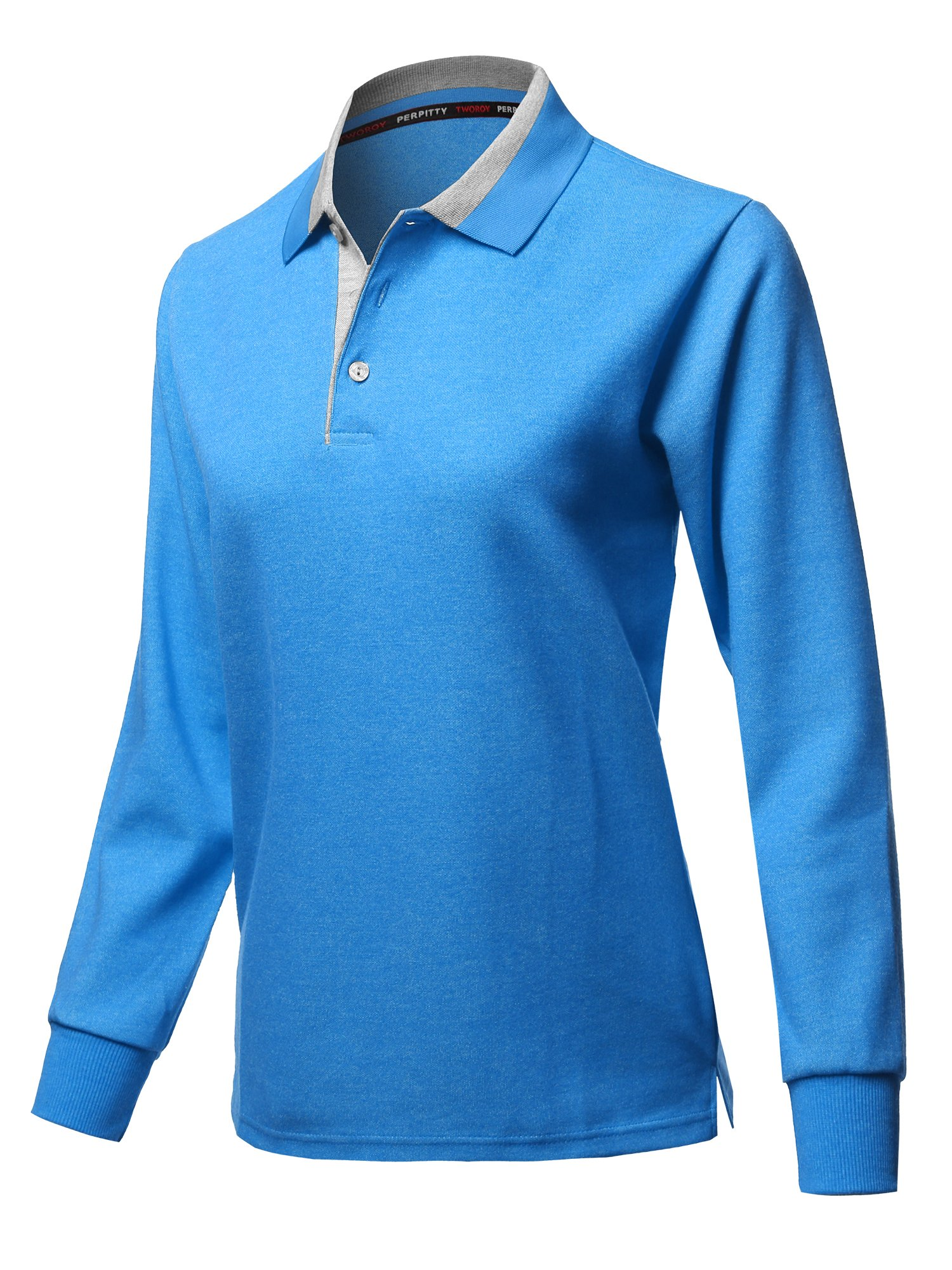Xpril Casual 100% Cotton Long Sleeves 2-Tone Collar Polo Top Aqua Size L