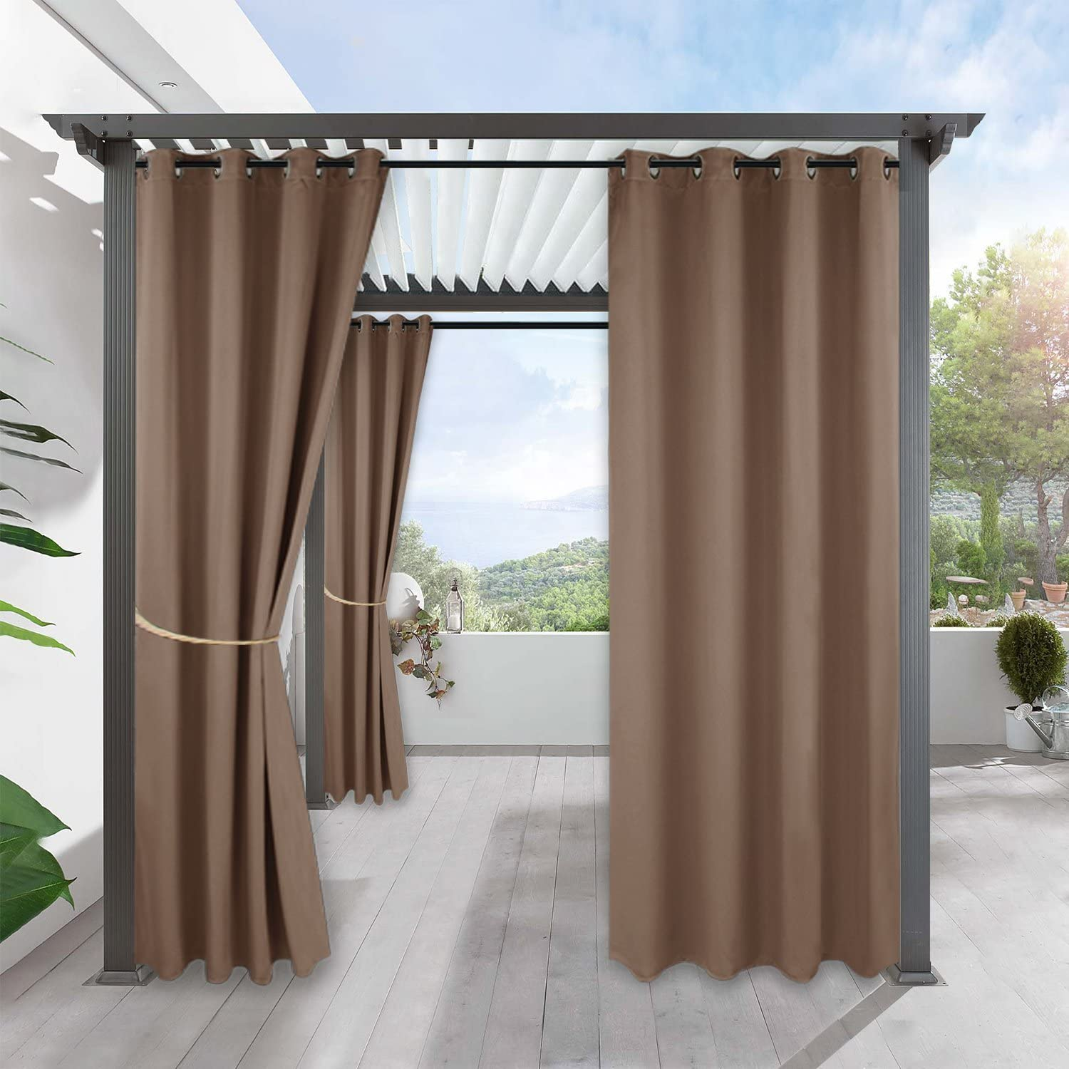 RYB HOME Outdoor Pergola Curtain - Waterproof Windproof Exterior Drapery Privacy for Patio Door Front Porch Back Yard Arbor Party Activity, 52-inch Width x 120-inch Length, 1 Panel, Mocha