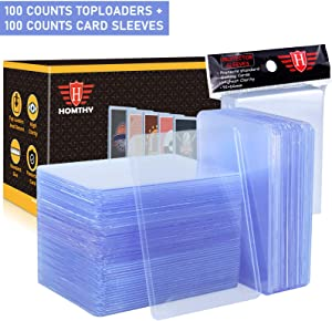 200 Counts Trading Card Sleeves TopLoader Set, Top Loader Penny Sleeves fit for Trading Card, MTG, Yugioh, Pokemon Card (Include 100 Thick Sleeves & 100 Soft Sleeves)