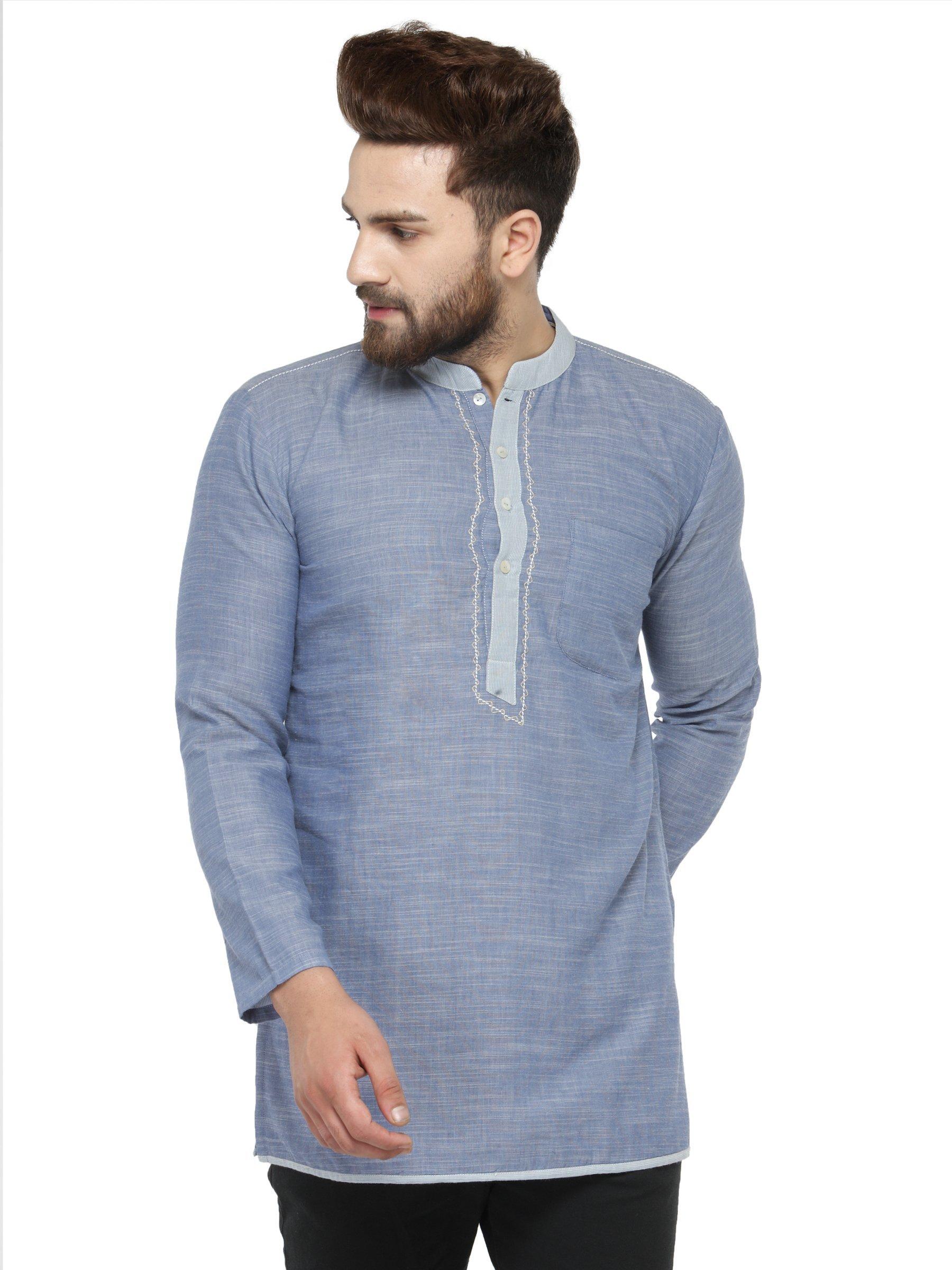 Apparel Men's Cotton Designer Short Kurta 38 Sky Blue