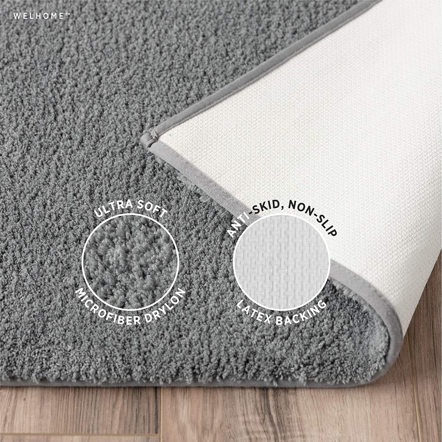 """Welhome 100% Microfiber Drylon Non Slip Bath Rug - Latex Backing - Ultra Absorbent - Quick Dry - Soft - Durable - Hotel Spa Bathroom Collection - 17""""x 24"""", 21""""x 34"""" -Gray: Kitchen & Dining"""