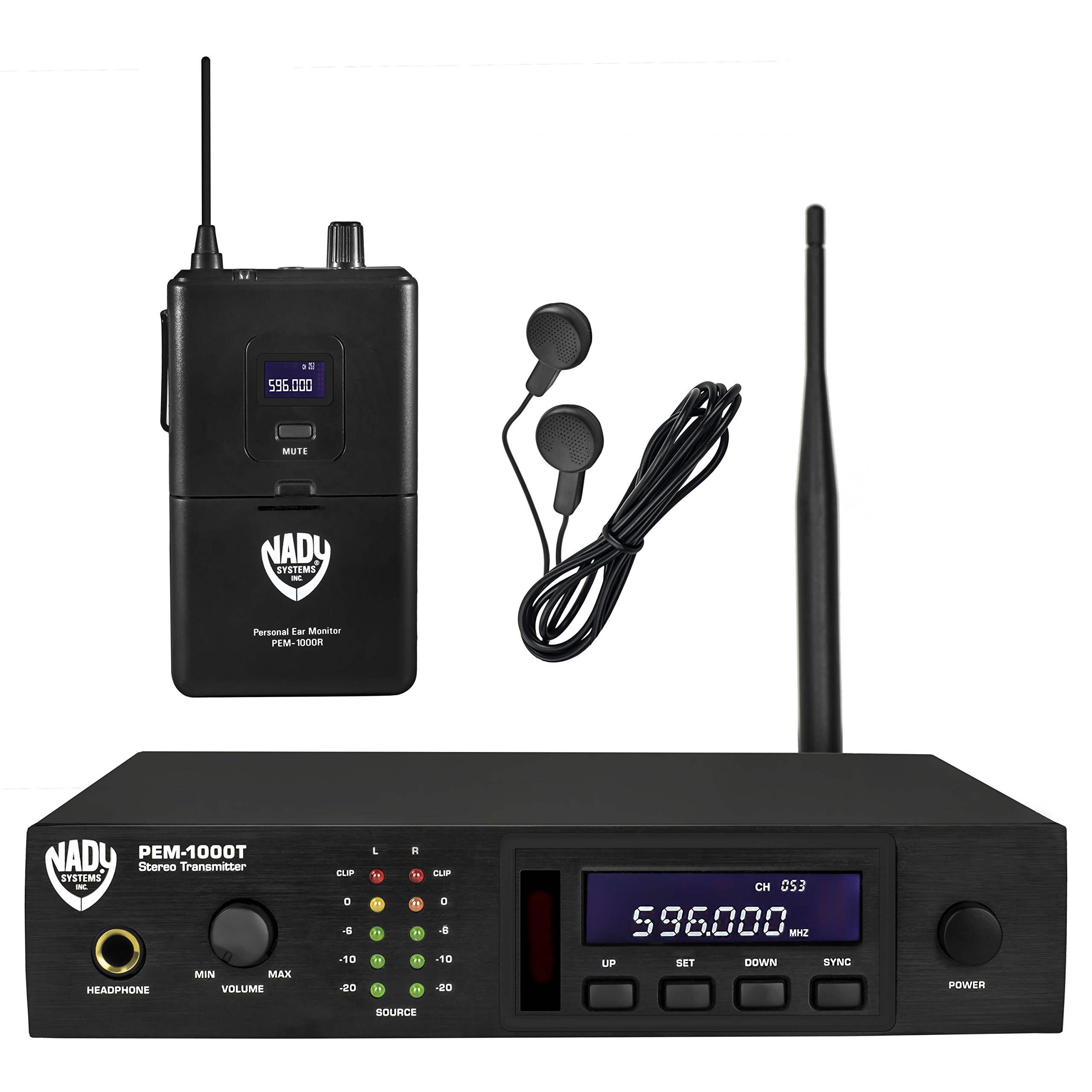 Nady PEM-1000 UHF 100-Channel Wireless Professional In-Ear Monitor System with Earbud Headphones