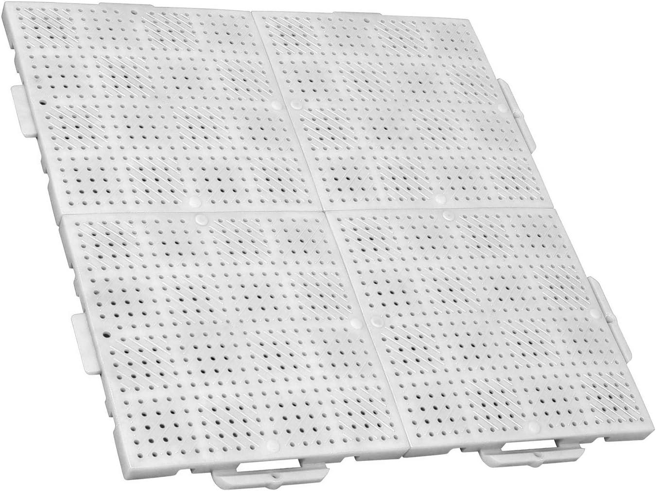 TERRAGUIDE Sun Placas para Suelo/terraza 1m², 4 Unidades de 50 x 50cm, 16 baldosas de Clic, Blanco: Amazon.es: Jardín