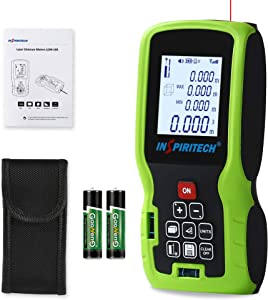 Laser Measure,Inspiritech 328 Feet Digital Laser Distance Meter with 2 Bubble Levels, Backlit LCD,M/In/Ft Switch and Pythagorean Mode, Measuring Distance, Area and Volume,Battery Included