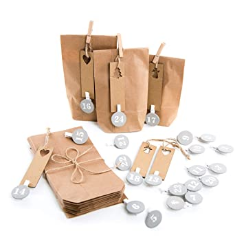 Calendario de Adviento Set con natural bolsas de papel + ...
