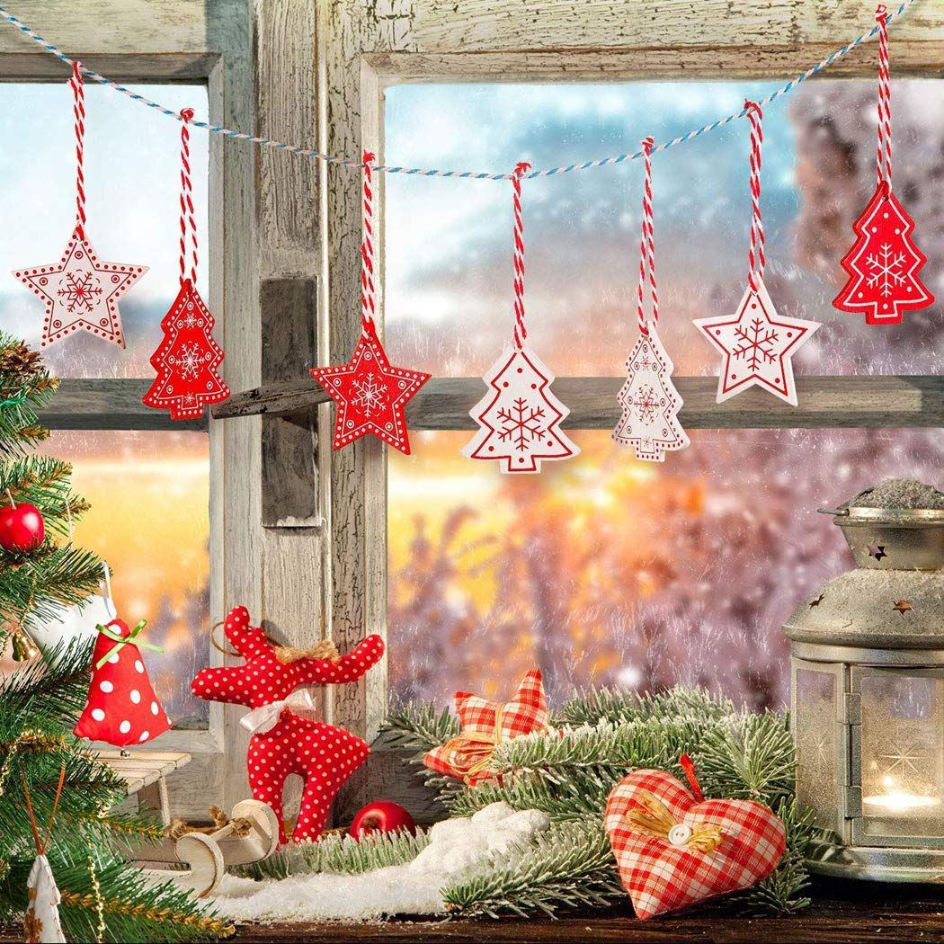 ZOYLINK 120 STK Weihnachtsbaumschmuck Holz Holzanhänger mit LED Lichterkette und Seil Christbaumschmuck Holz Christbaumanhänger Geschenkanhänger für Weihnachtlicher Dekoration