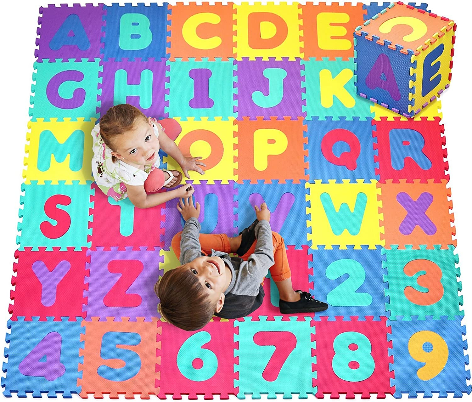 Click N' Play, Alphabet and Numbers Foam Puzzle Play Mat, 36 Tiles (Each Tile Measures 12 X 12 Inch for a Total Coverage of 36 Square Feet): Toys & Games