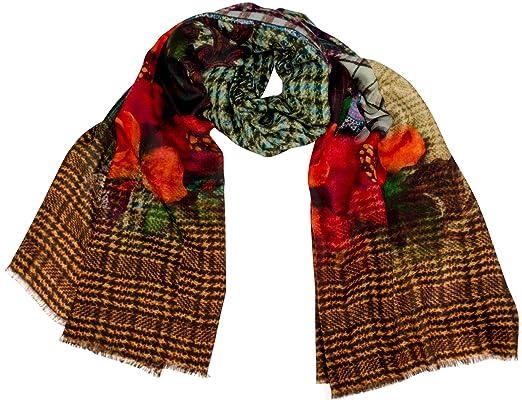 Cashmere zEighteen Écharpe Amber Boléro 100% cachemire Pashmina Multicolore  floralmuster Carreaux Marron Rouge Orange 18cf7cbc318