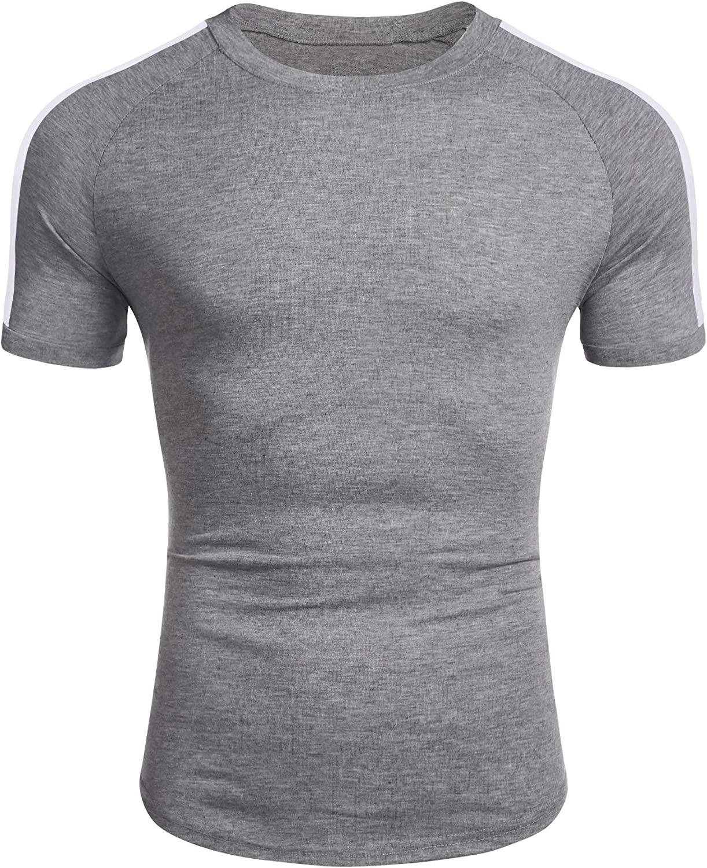 Coshow Herren Fitness T-Shirt Bodybuilding Tshirts Workout M/änner Sport Trainingsshirt Casual Slim Fit Gro/ße Streifen Kurzarm Tops