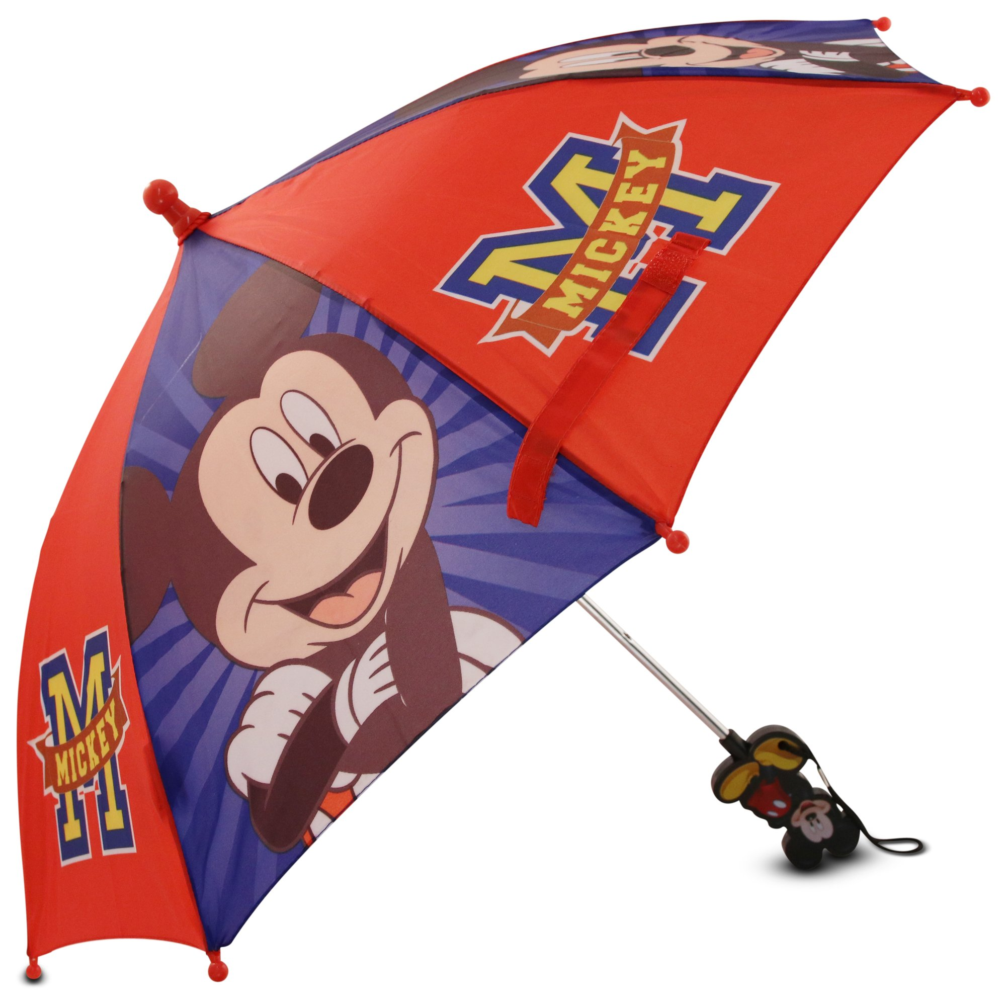 Disney Little Boys' Mickey Mouse Character Rainwear Umbrella, Red/Blue, Age 3-7