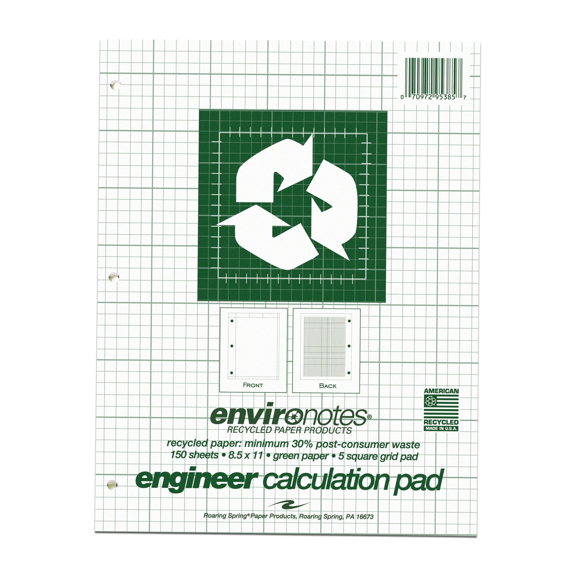 Roaring Spring Recycled Engineering Pad, 8.5'' x 11'', Green, 150 sheets