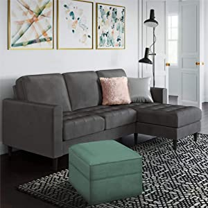 CosmoLiving Strummer Modern Reversible Sectional Couch Upholstered in Charcoal Velvet Fabric with Floating Ottoman