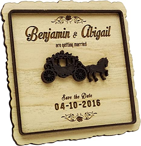 Funny Wooden Wedding Favor Tags Custom Laser Cut Save the Date Reminder Personal Engraved Comics Wood Magnets Wood Save the Date Magnet