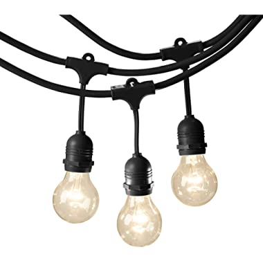 AmazonBasics Weatherproof Outdoor Patio String Lights G60 Bulb, Black, 48-Foot