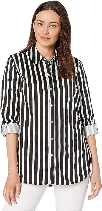 Tribal Roll Up Sleeve Stripe Shirt Camisa Abotonada para Mujer: Amazon.es: Ropa y accesorios