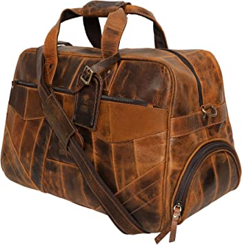 Real Retro Handmade Brown  Leather  Carry-On Duffle Weekend Luggage Travel Bag