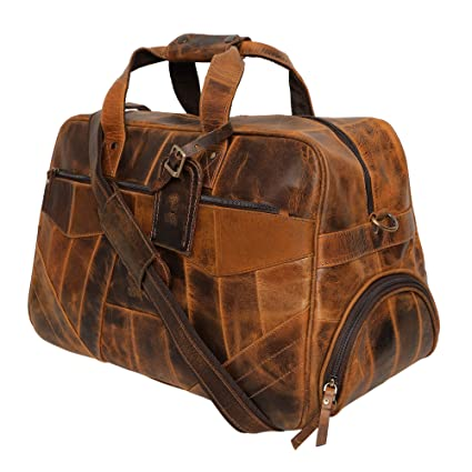 Rustic Town Handmade Genuine Leather Duffel Bag for Men | Airplane Travel Carry On Duffle Bag | Underseat Weekender Luggage  Brown