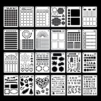 LTBLBY 24PCS Journal Stencils, Journaling Supplies,DIY Log Painting Template,Doodle Template Journal Stencil Set for…