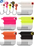 Gejoy 60 Pieces Fishing Lures Jig Heads Ball Head Fishing Hooks Round Lead Ball Head Jigs with Double Eyes for…