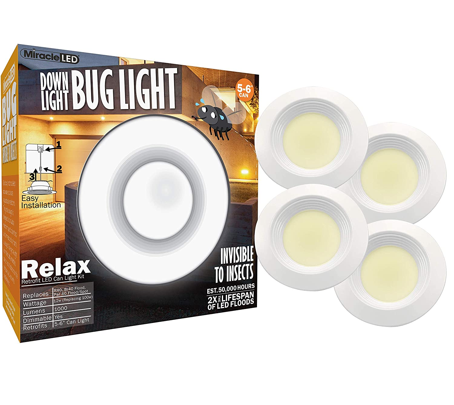 MiracleLED 602054 5-6 Soffit 4-Pack Bug Light Sunset Glow