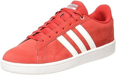 online store 3791f 554f0 adidas neo Men s Cf Advantage Scarle Ftwwht Msilve Leather Tennis Shoes - 9  UK
