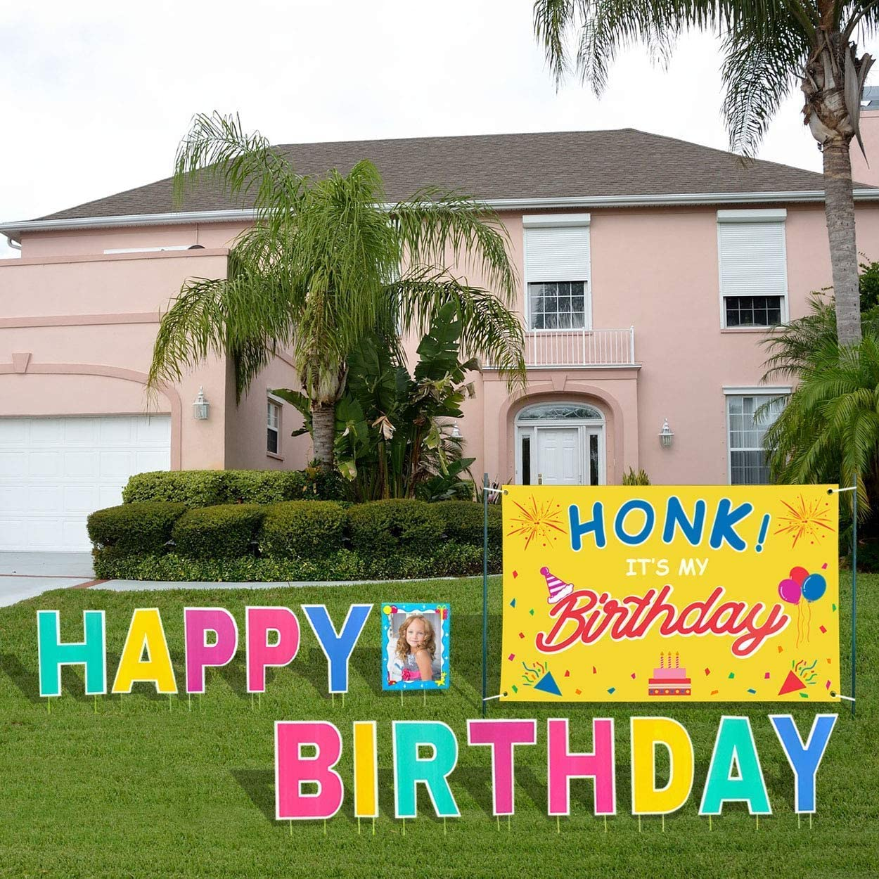 """Aplus 18"""" Happy Birthday Yard Lawn Signs with Stakes and 72""""x47"""" HONK IT'S My Birthday Quarantine Banner"""