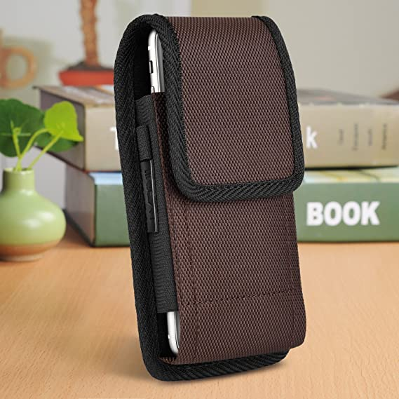 fc41b730a iNNEXT Vertical Holster Belt Clip Carrying Case Pouch for iPhone X XS XR 8 7  Plus 5.5 inch, Plus Size Heavy Duty Nylon Canvas Flap Case for Galaxy S8  Plus ...