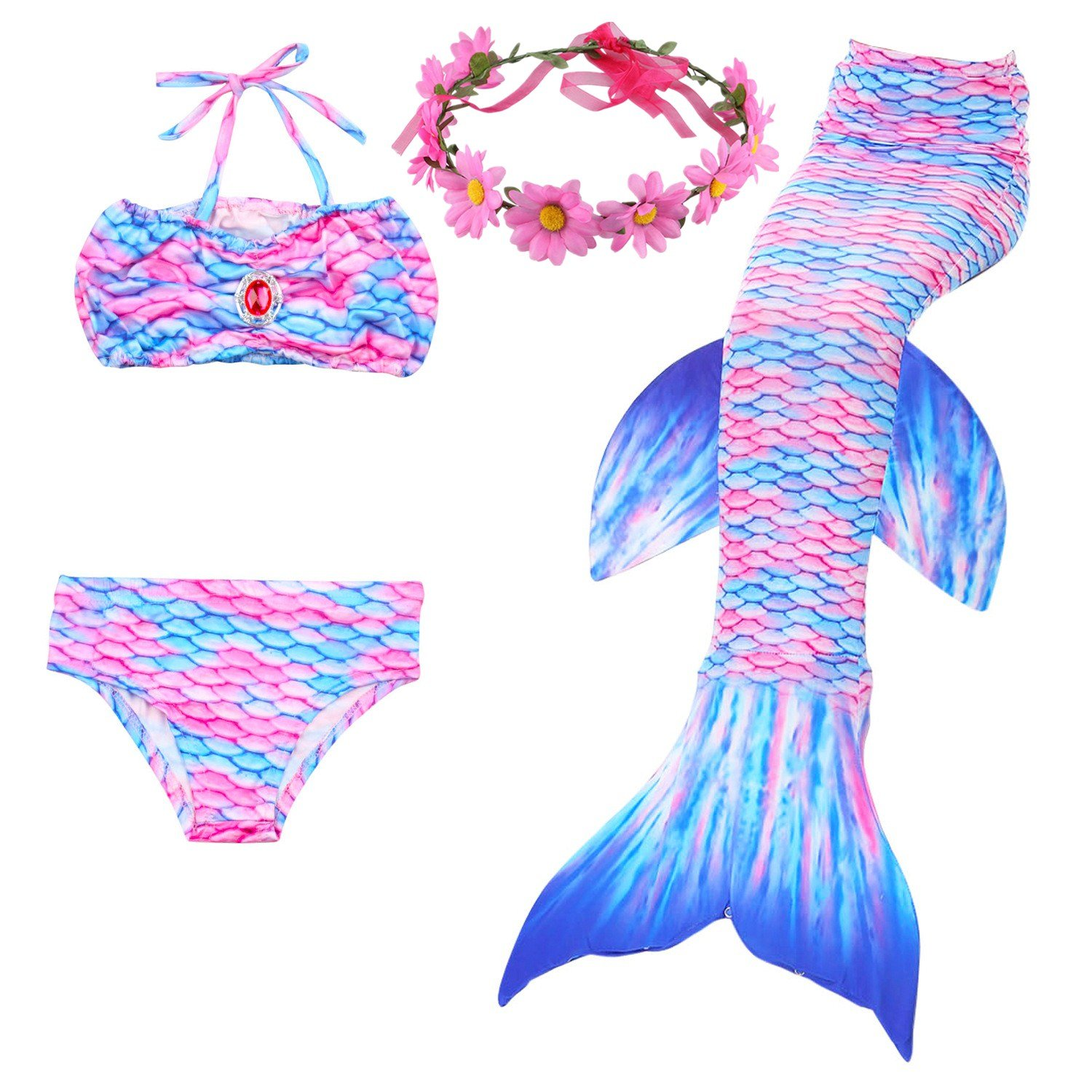 New Kid Mermaid Cos Costume Bikini Shorts Mermaid Tail Skirt 3pcs Set Beach Wear Swimsuit The Tail Can Open Can Put In A Monofin Mother & Kids