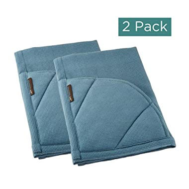 Rachael Ray Kitchen Towel, Oven Glove Moppine - 2-in-1 Ultra Absorbent Kitchen Towels with Heat Resistant Padded Pockets Like Pot Holders and Oven Mitts to Handle Hot Cookware - Smoke Blue, 2 Pack