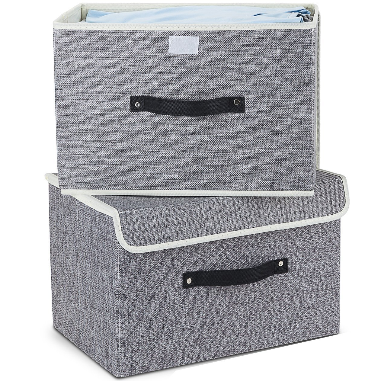 EZ GENERATION Storage Bins Set, Storage Baskets Pack of 2 Foldable Storage Boxes Cubes with Lids, Fabric Storage Bin Organizer Collapsible Box Containers for Nursery,Closet,Bedroom,Home(Light Gray) by EZ GENERATION