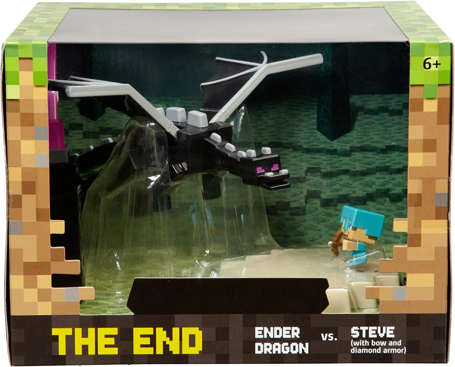 The End Mini Figure Playset Ender Dragon vs. Steve with Bow /& Diamond Armor