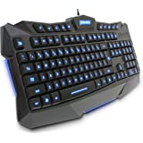 Plixio Backlit LED Light-Up Professional Wired USB Gaming Keyboard for MMOs, RPGs, and FPS