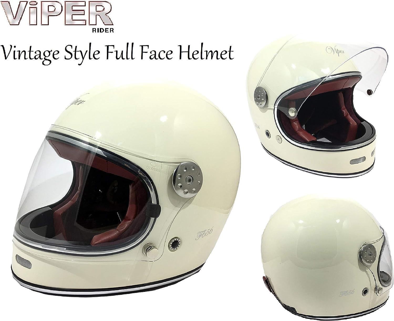 Casco de moto VIPER F656 VINTAGE de fibra de vidrio para adultos, para motocicleta, scooter, motociclista, motociclista, estilo retro, clásico, estilo Crash Racing, Touring, Deportes, ECE, color crema