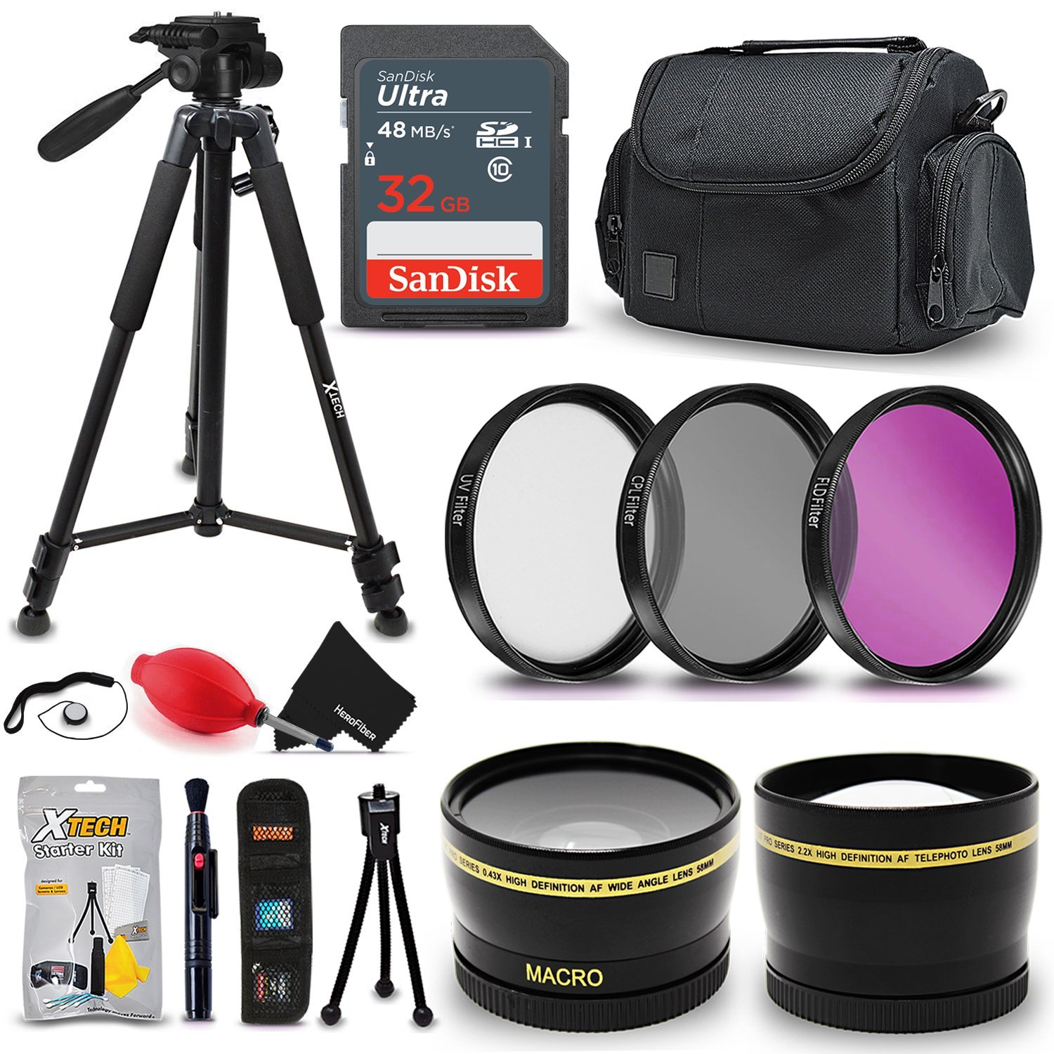 Professional 52MM Accessories Bundle Kit for Nikon D3100 D3200 D3300 D5000 D5100 D5200 D5300 D7000 D7100 D7200 & DSLR Cameras, with 32GB SD Memory card, tripod, case and more