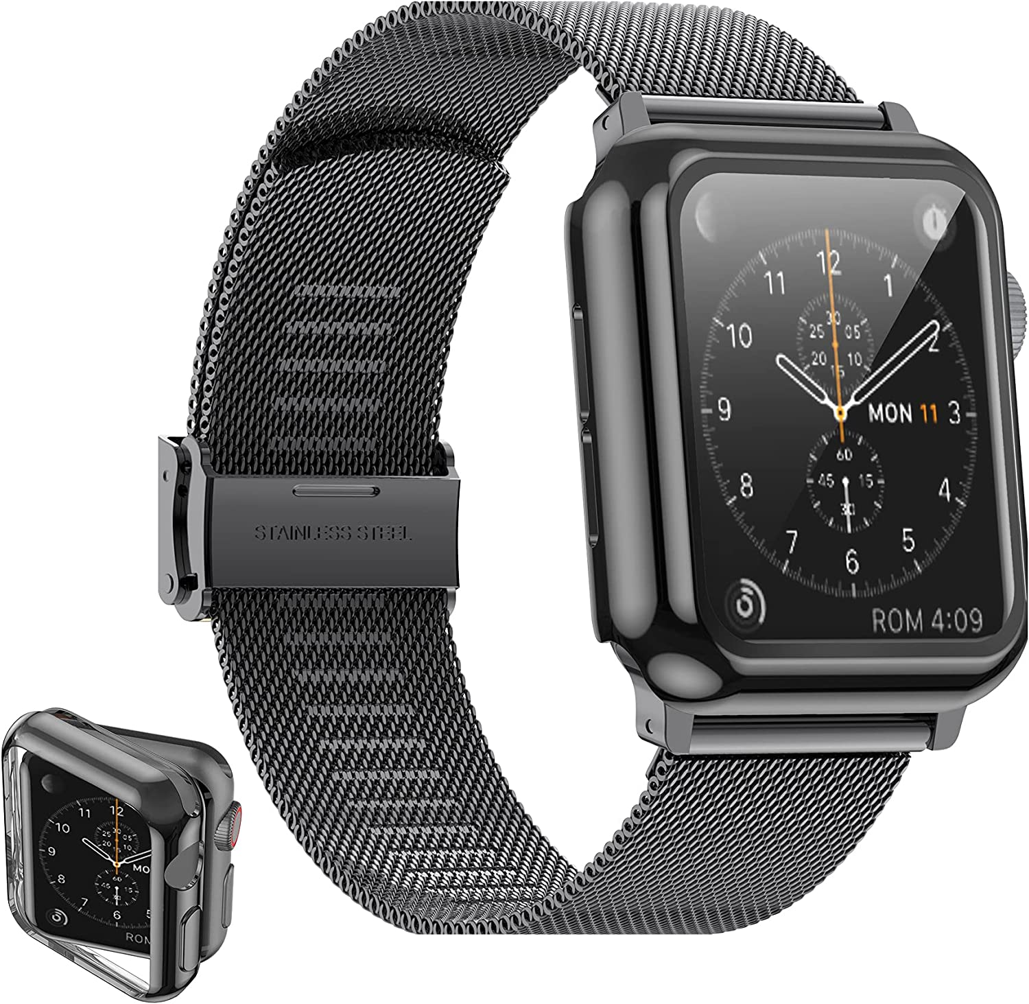 Girovo Compatible with Apple Watch Bands 38mm Women Men, Stainless Steel Mesh iWatch Bands with Screen Protector Case Cover Accessories for Apple Watch Band Series 3 Series 2 Series 1, Black
