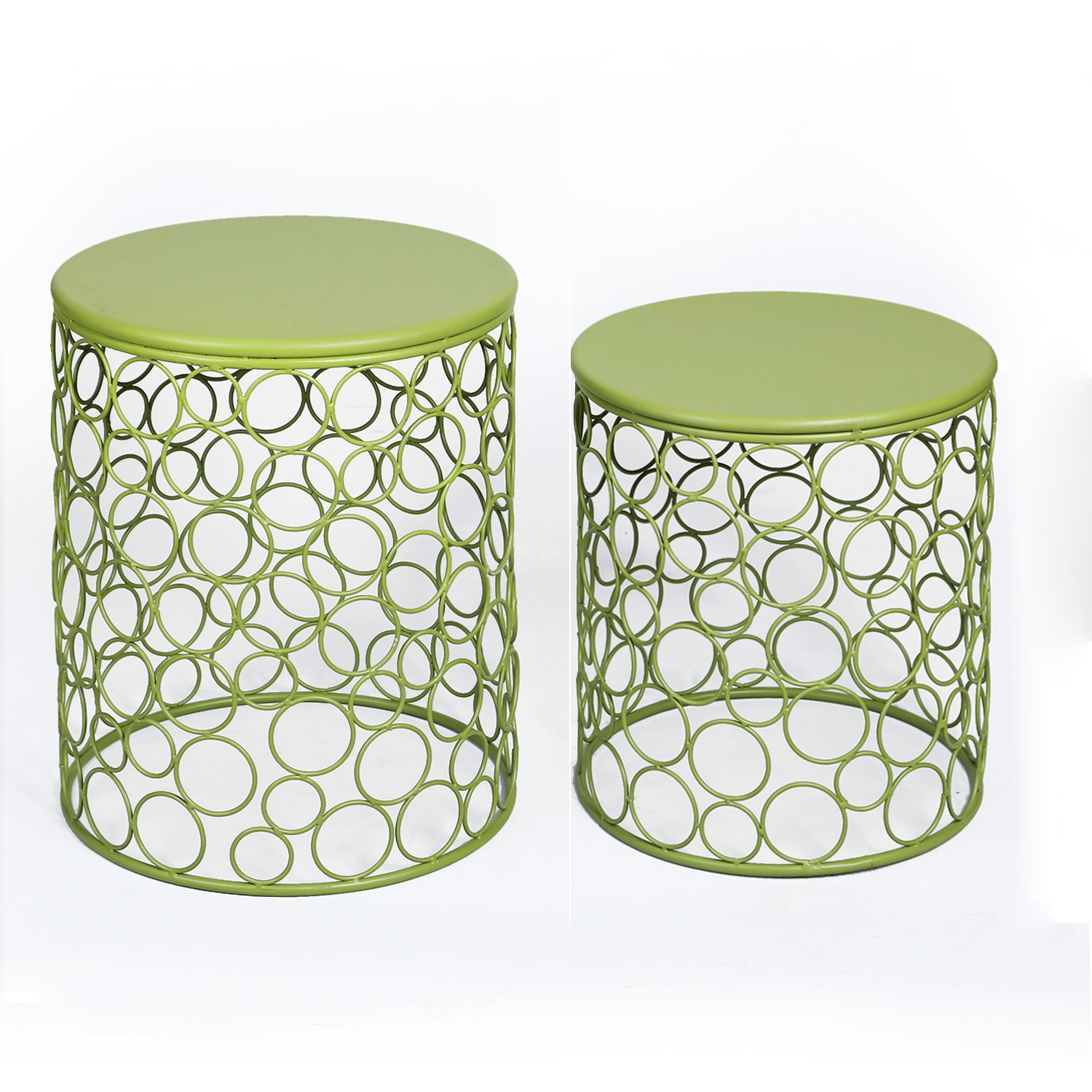 Amazon.com: Joveco Green Round Iron End Table, Side Table. Bubble Pattern  Beautiful, Stylish And Cute Nesting Table Set Perfect For Coffee Table, End  Table, ...